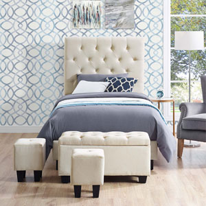 Faith Contemporary Upholstered Kids Bed with Storage Ottomans - Single - Buckwheat