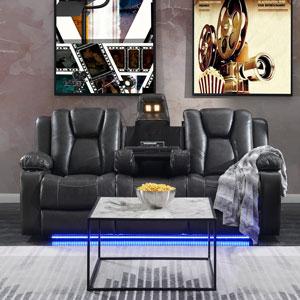 Starship Genuine Leather Power Reclining Sofa - Charcoal