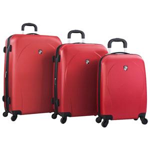 Ensemble de 3 valises rigides extensibles xcase Spinner de Heys - Rouge