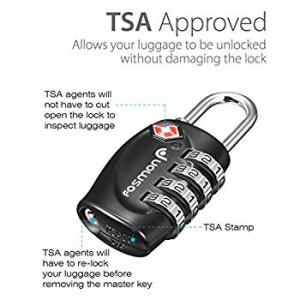 Black Fosmon 4 Digit TSA Approved Luggage locks for Suitcases and Baggage 1,2,3,4 Pack