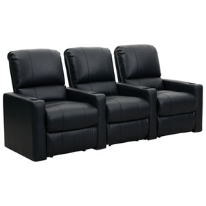 Octane Charger XS300 3-Seat Bonded Leather Arm Recliner & Right-Facing Recliner Home Theatre Seating - Black