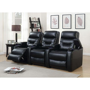 Saturn 3-Seat Leather Gel Power Recliner Home Theatre Seating - Black