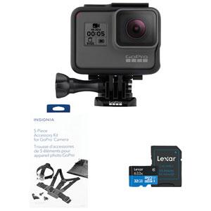 Caméra étanche 4K pour sports et casque GoPro HERO5 avec accessoires et carte microSDHC de 32 Go