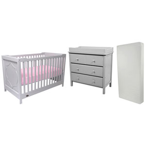 Kidiway Moon Solid Wood 4-in-1 Convertible Crib with 3-Drawer Changing Table & Crib Mattress - Grey