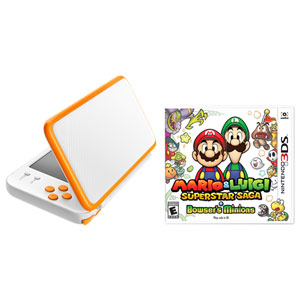 New Nintendo 2DS XL & Mario & Luigi: Superstar Saga + Bowser's Minions Bundle - Orange/White
