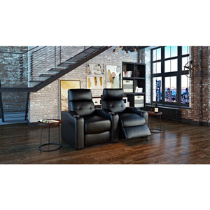 Octane Contour HR 2-Seat Leather Power Recliner Home Theatre Seating - Black