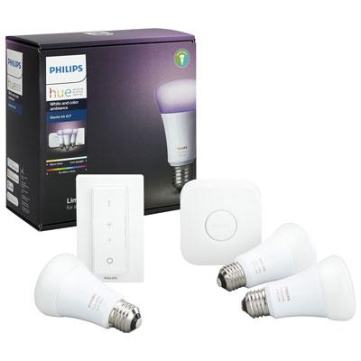 Philips Hue A19 Smart LED Light Bulb Starter Kit with Dimmer Switch