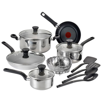 T-Fal Simply Cook 14-Piece Stainless Steel Cookware Set - Silver