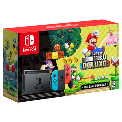Nintendo Switch Bundle with Neon Red/Blue Joy-Con & New Super Mario Bros. U Deluxe