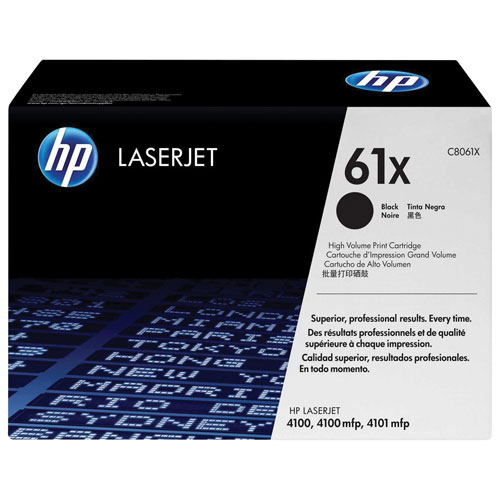 Cartouche de poudre d'encre noire LaserJet 61X de HP (Q8061X)