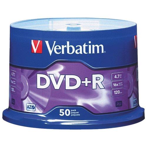 Disques DVD+R 16x de 4,7 Go de Verbatim - Paquet de 50