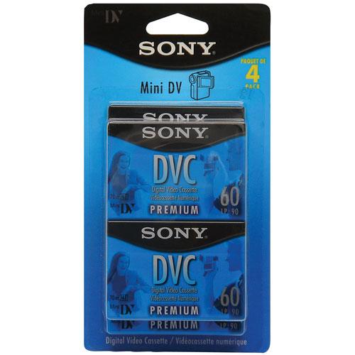 Paquet de 4 vidéocassettes MiniDV de 60 minutes de Sony