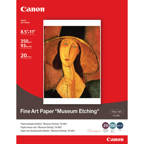 "Canon 20-Sheets 8.5"" x 11"" Fine Art Museum Etching Paper"