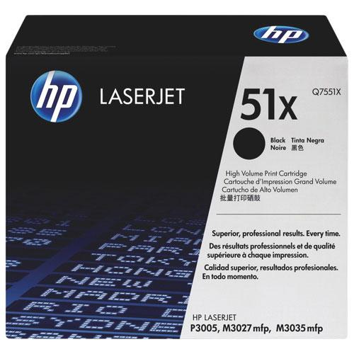 Cartouche de poudre d'encre noire LaserJet 51X de HP (Q7551X)