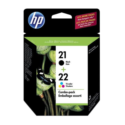 Cartouches d'encre noire/tricolore 21/22 de HP (C9509FC) - Paquet de 2