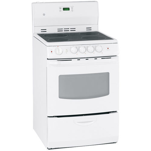 """GE 24"""" 3.0 Cu. Ft. Freestanding Smooth Top Electric Range (JCAS745MWW) - White"""