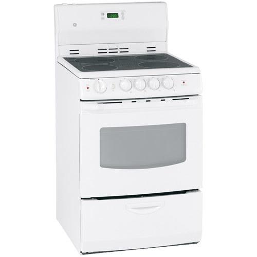 Cuisinière électrique autonome à surface lisse 3 pi3 24 po de GE (JCAS745MWW) - Blanc