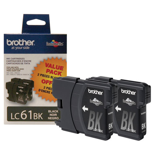 Brother LC61BK Black Ink - 2 Pack