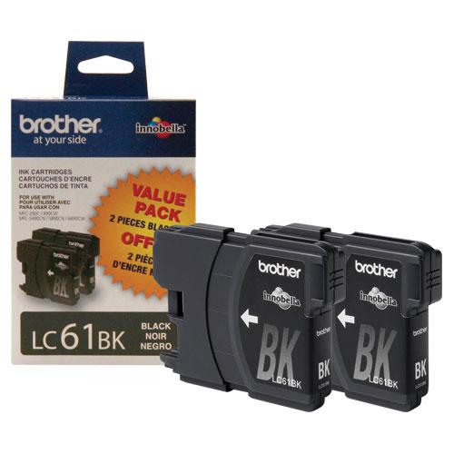 Brother LC61BK Black Ink - 2 Pack