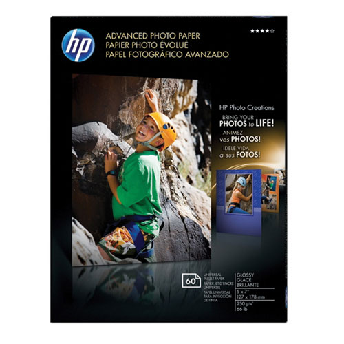 "HP 60-Sheet 5"" x 7"" Advanced Glossy Photo Paper"