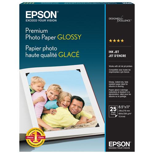 Paquet de 25 feuilles de papier photo glacé 8,5 x 11 po d'Epson