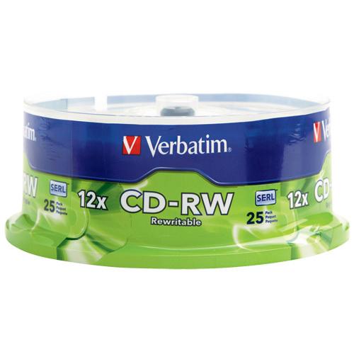 Disques CD-RW 12x de 700 Mo de Verbatim - Paquet de 25