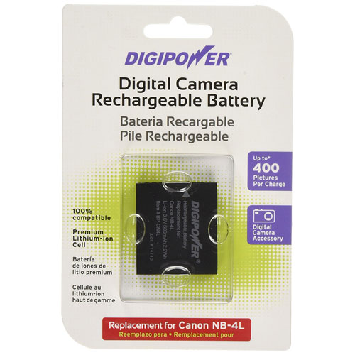 Batterie de rechange au lithium-ion de Digipower pour appareils photo de Canon (BP-CN4L)
