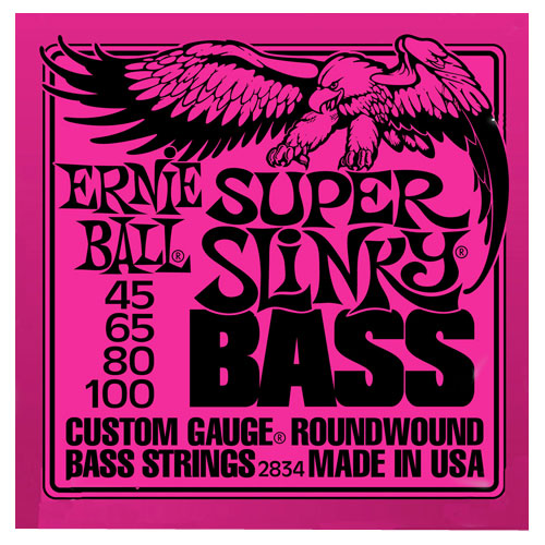 Cordes Super Slinky d'Ernie Ball (45-100 nickel rose) - Guitare basse