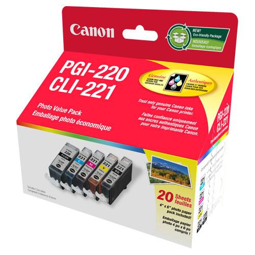Emballage photo économique PGI-220/CLI-221 de Canon - Paquet de 5