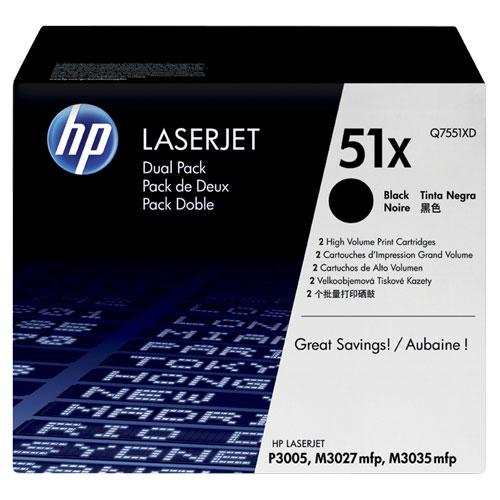 HP 51X Black Toner (Q7551XD) - 2 Pack