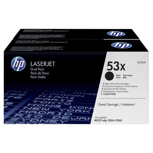 Cartouche de poudre d'encre noire 53X de HP (Q7553XD) - Paquet de 2