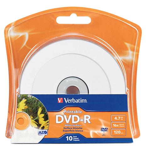 Disques DVD-R imprimables 16x de 4,7 Go de Verbatim - Paquet de 10 - Blanc