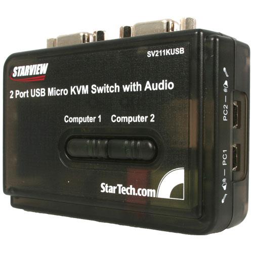 Trousse de commutation KVM à deux ports USB de StarTech avec câbles et audio - Noir