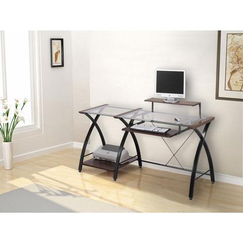 Brisa Computer Desk With Glass Top Cherryblack Frame Desks