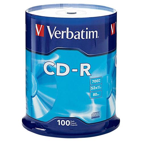Disques CD-R 52x de 700 Mo de Verbatim - Paquet de 100
