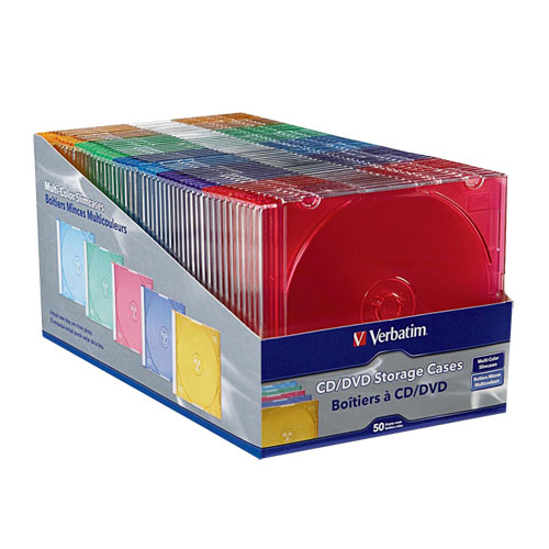 Paquet de 50 boîtiers ultraplats multicolores pour CD et DVD de Verbatim