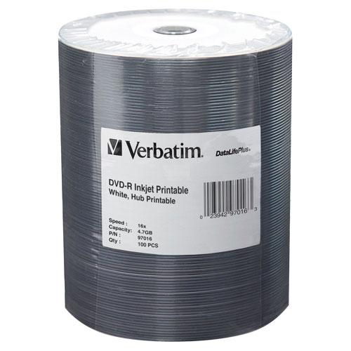 Disques DVD-R imprimables 16x de 4,7 Go DataLifePlus de Verbatim - Paquet de 100