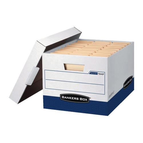 Boîte de rangement R-Kive conformes norme TAA format ministre de Bankers Box - Paquet de 12 - Blanc