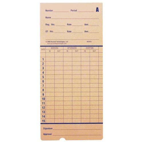 Cartes de pointage pour horodateur 2600 de Pyramid Technologies - Paquet de 100