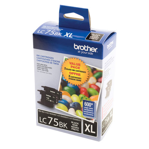 Brother LC75BK XL Black Ink - 2 Pack