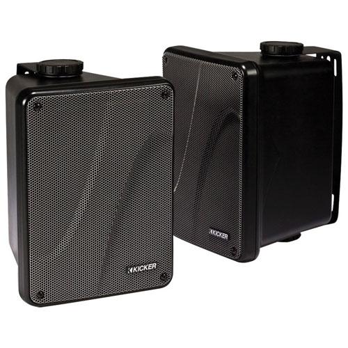 Kicker KB6000 75-Watt Full-Range Outdoor Speakers - Black - Pair