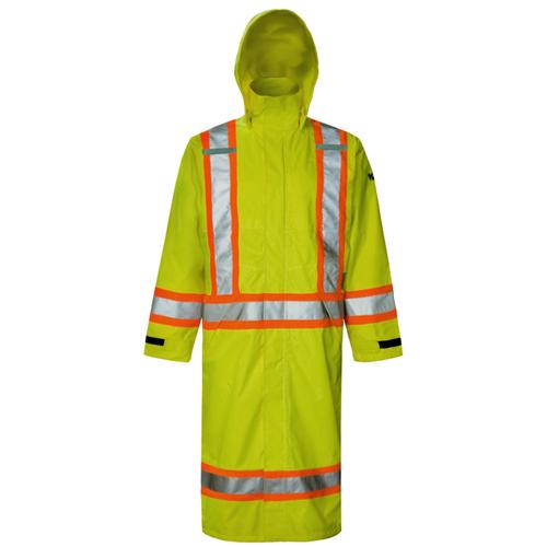 Viking Hi-Viz XXXL Long Coat with Hood (6326G-XXXL) - Green