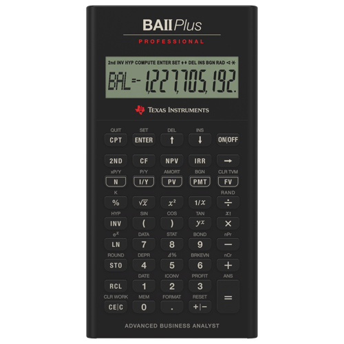 Calculatrice graphique BAII Plus Professional de Texas Instruments