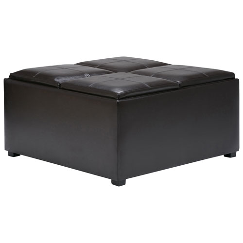 Simpli Home Storage Ottoman with Trays (F-07)