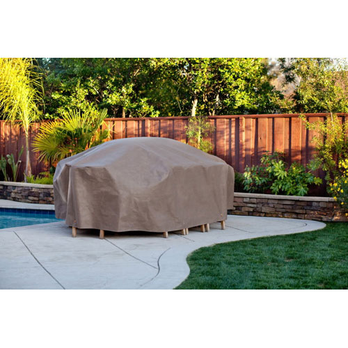"Duck Covers 109"" Table & Chairs Patio Cover - Cappuccino Brown"