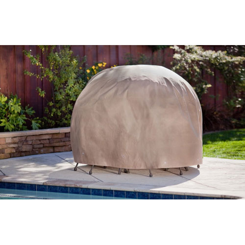 "Duck Covers 76"" Table & Chairs Patio Cover - Cappuccino Brown"