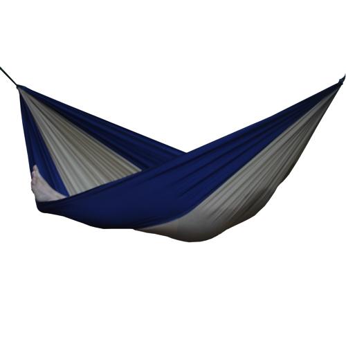 Hamac double en toile de parachute - Beige - Bleu marine