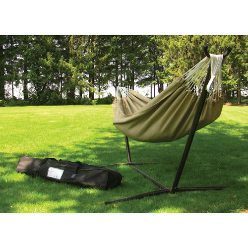 Sunbrella Double Hammock with Stand - Brown
