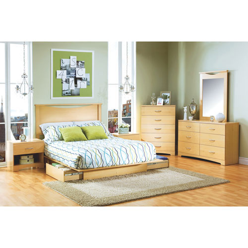 Copley Contemporary Storage Bed - Queen - Maple Brown