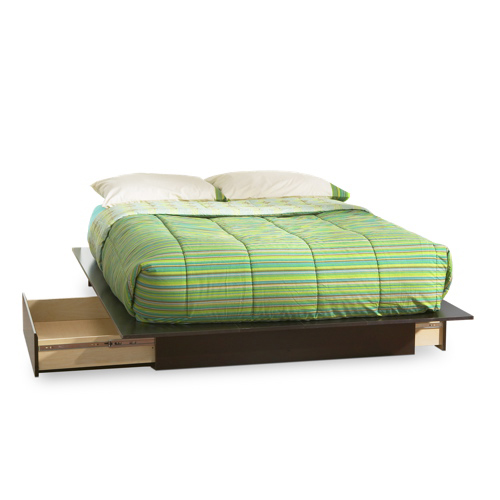 Step One Contemporary Storage Bed - Queen - Chocolate Brown